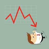 Vector of chubby businessman crying because of business graph down, negative trend, failure