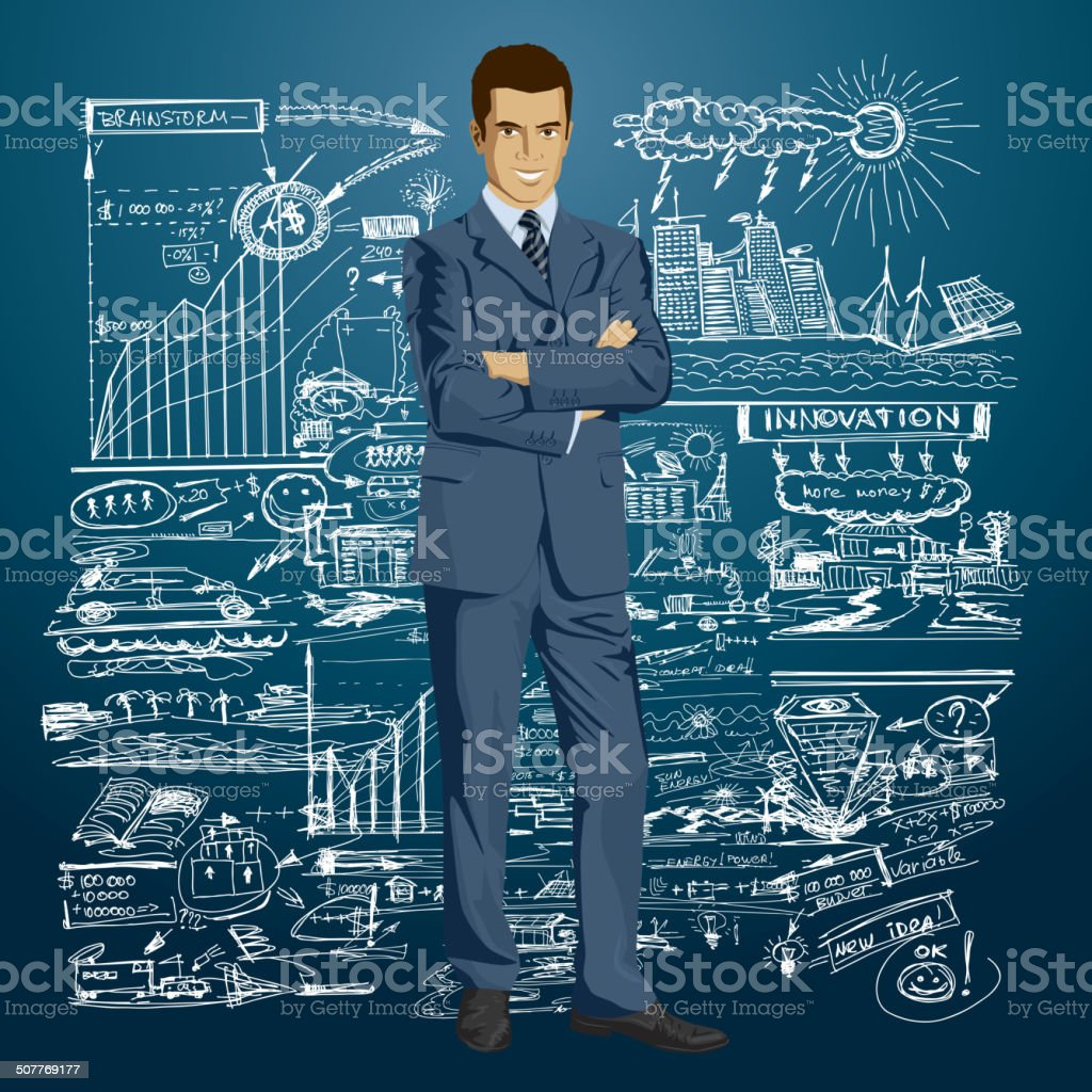 Vector Businessman In Suit vector art illustration