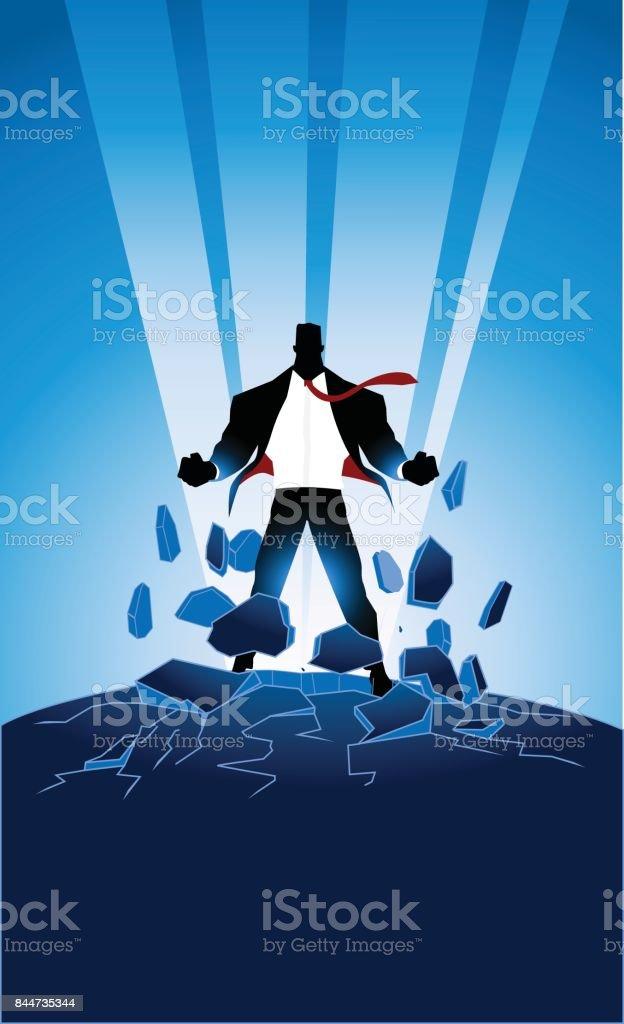 Vector Businessman Superhero Bursting Energy Out SIlhouette vector art illustration