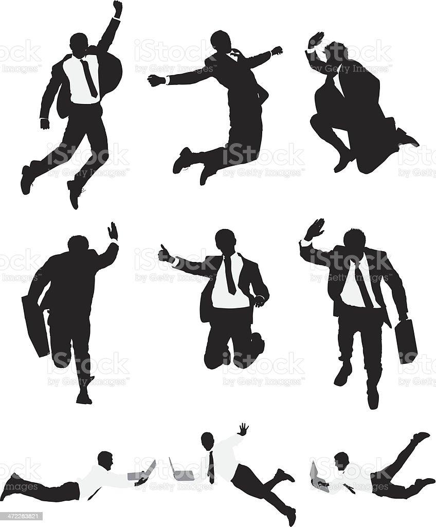 Vector businessmen leaping through the air vector art illustration