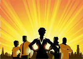 A silhouette style illustration of a team of businessmen with female leader with city skyline and sunburst in the background.