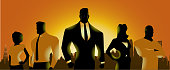 A silhouette style illustration of a team of of business people with city skyline in the background. Perfect for web or Facebook header.