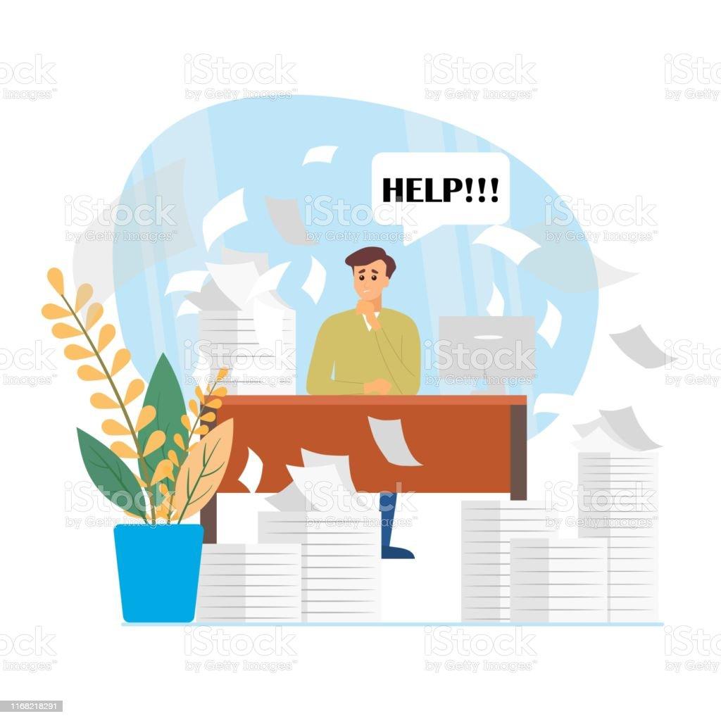 Vector Busy Rhythm Life Cartoon Flat Man Asks For Help