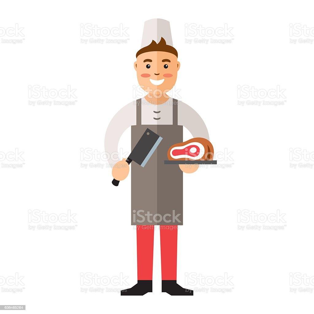 Vecteur boucher. illustration multicolore de personnage dans un style plat. - Illustration vectorielle