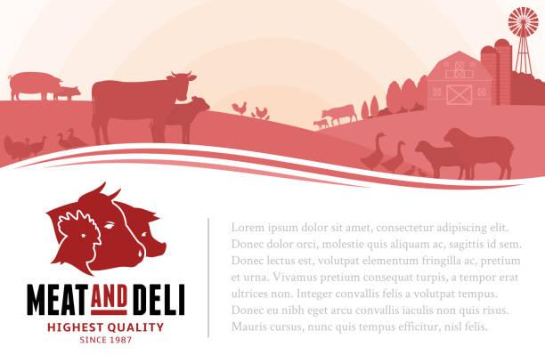 stockillustraties, clipart, cartoons en iconen met vectorillustratie slager winkel - poultry farm