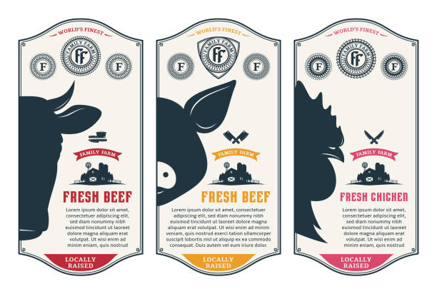 Vector butcher's shop design labels Vector butcher's shop logo. Fresh beef, pork, chicken modern style labels. Farm animals icons. poultry stock illustrations