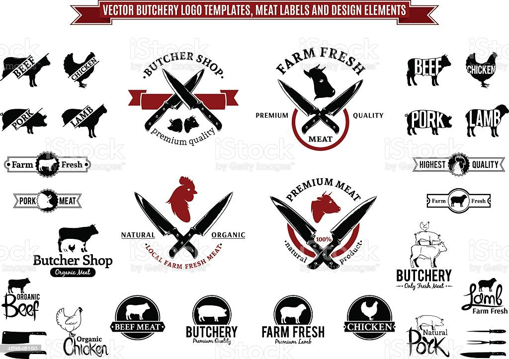 Vector Butchery Label Templates, Icons and Design Elements vector art illustration