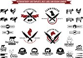 Vector Butchery Label Templates, Icons and Design Elements