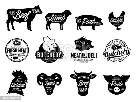 istock Vector butchery labels and farm animals icons 1057560532