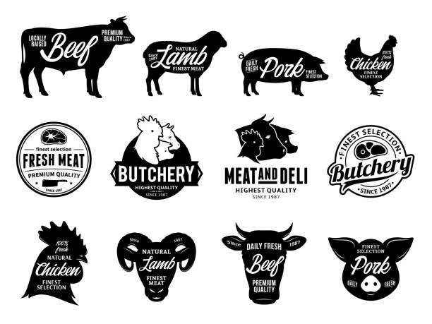 Vector butchery labels and farm animals icons Set of vector butchery labels. Farm animals silhouettes and icons collection for groceries, meat stores, butcher's shops, packaging and advertising. beef stock illustrations