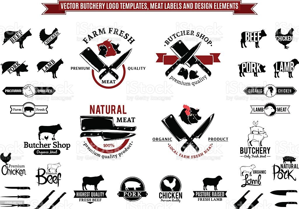 Vector Butchery Labels, Icons, Badges and Design Elements vector art illustration