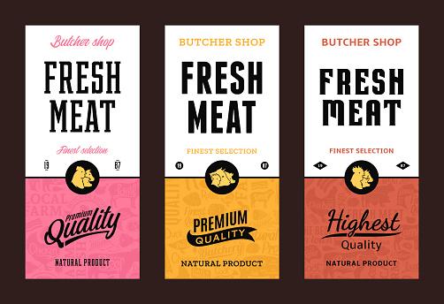 Vector butchery labels