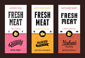 Fresh meat modern style labels. Farm animals icons. Butcher shop pattern and design elements.