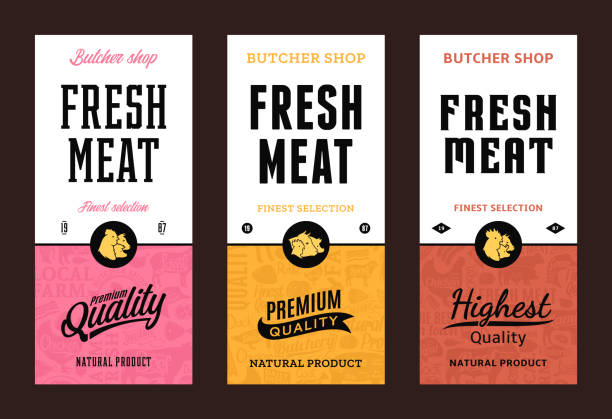 Vector butchery labels Fresh meat modern style labels. Farm animals icons. Butcher shop pattern and design elements. poultry stock illustrations