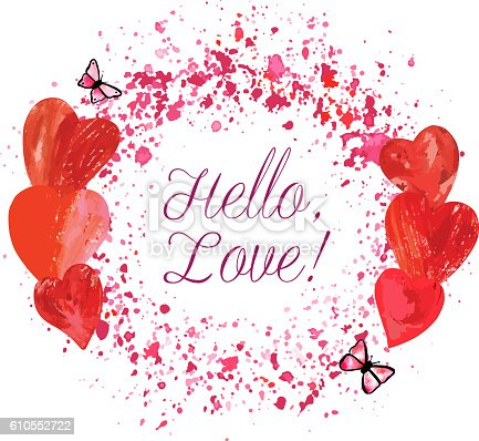 A vector circular border for text or logo, formed by hand painted pink butterflies and print stamped hearts, with splashes of watercolor