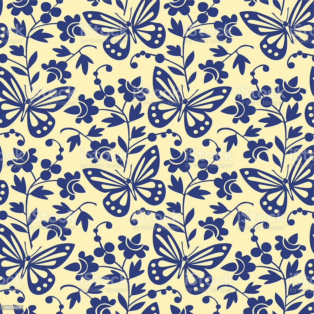 Vector butterflies seamless pattern vector art illustration