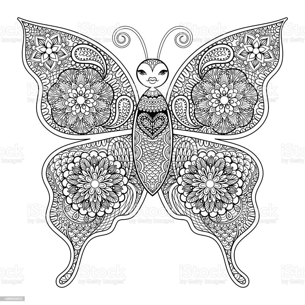 Zentangle Vectorial De Mariposa Para Adultos Para Colorear Contra ...