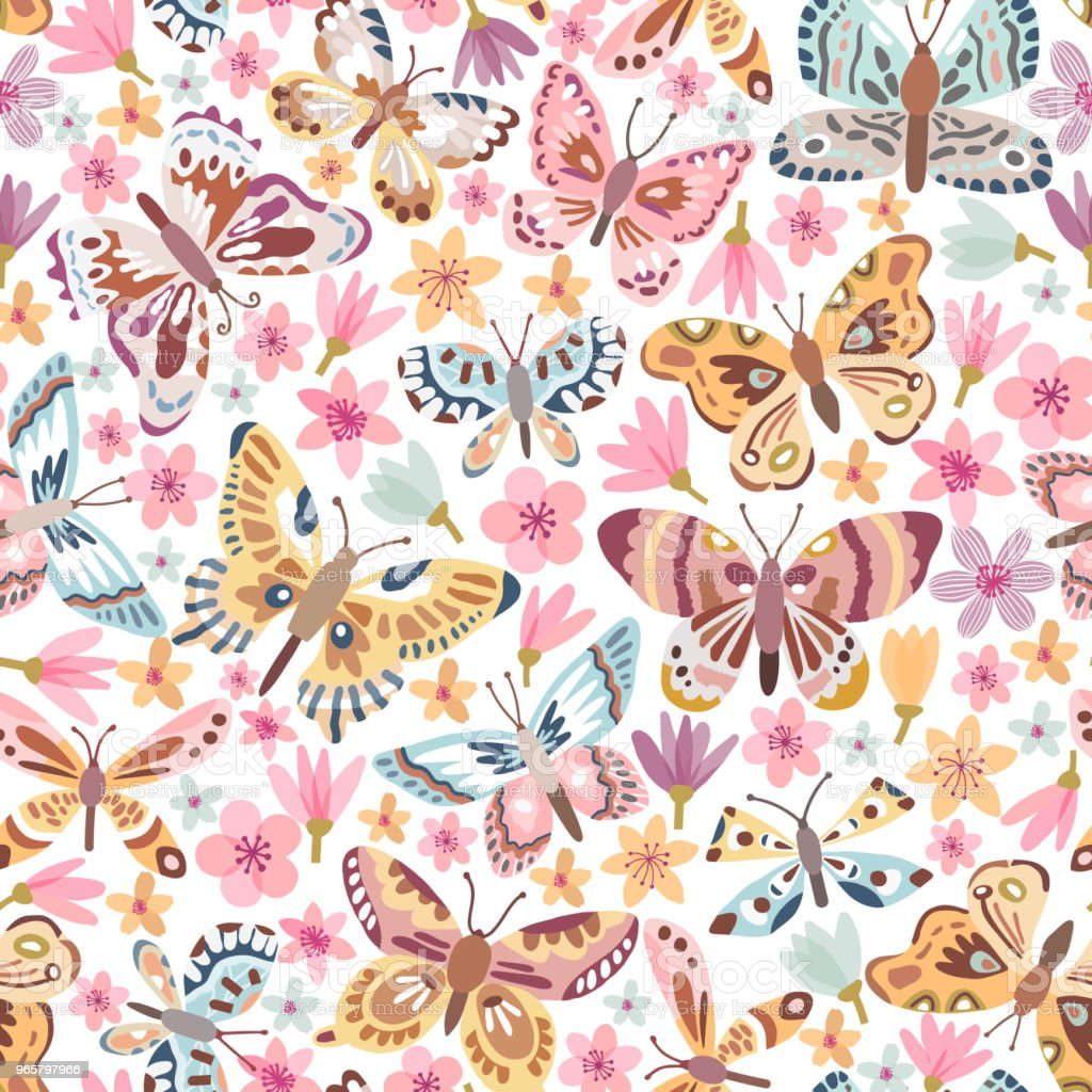 Vector vlinder naadloze patroon - Royalty-free Achtergrond - Thema vectorkunst