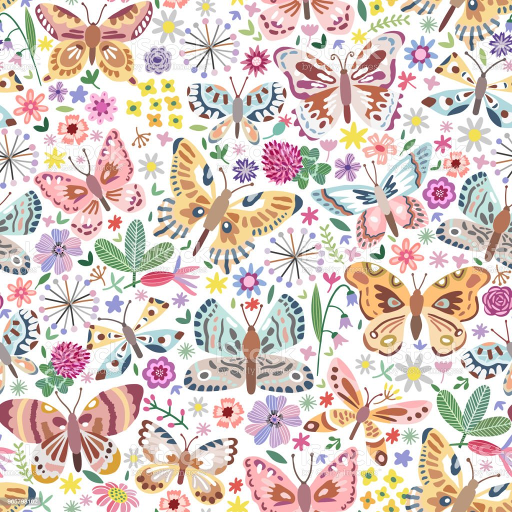 Vector butterfly seamless pattern - Royalty-free Archival stock vector