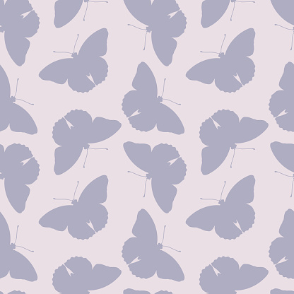 Vector butterfly silhouette pattern background.