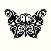 Vector Butterfly.Monochrome black and white stylized butterfly. Ethnic ornate.