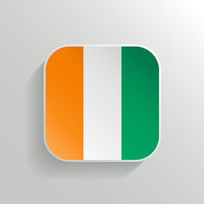 Vector Button - Cote d'Ivoire Flag Icon