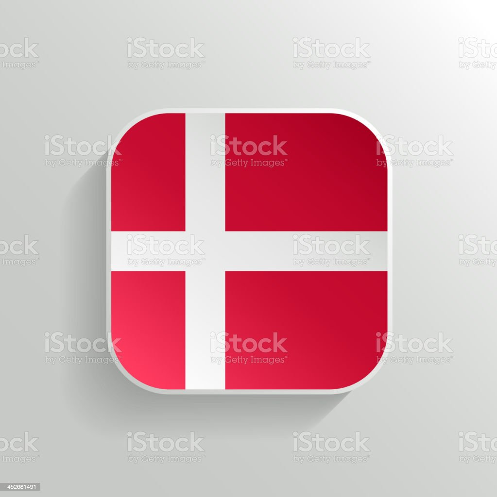 Vector Button - Denmark Flag Icon vector art illustration