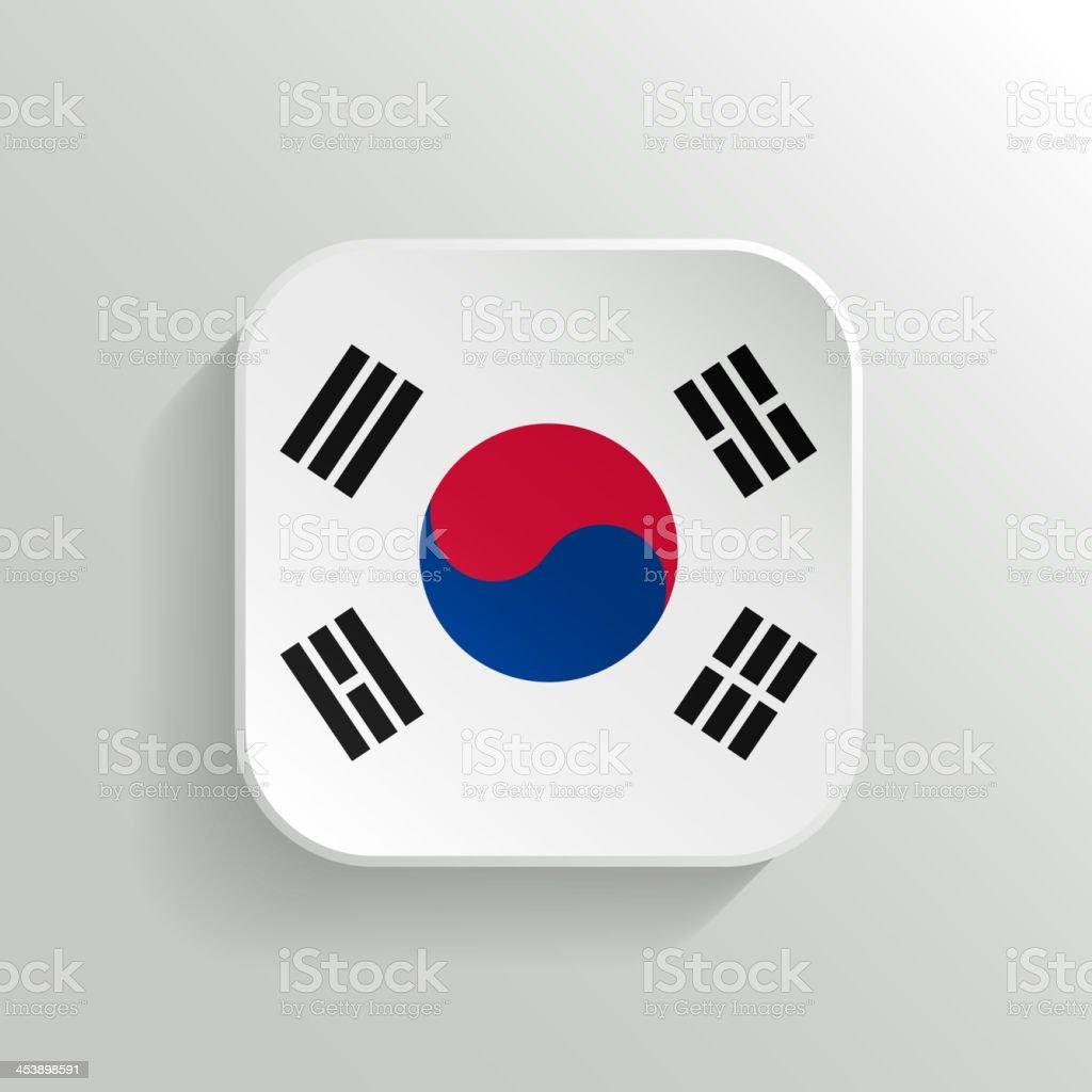 Botão de vetor bandeira ícone-Coreia do Sul - ilustração de arte em vetor