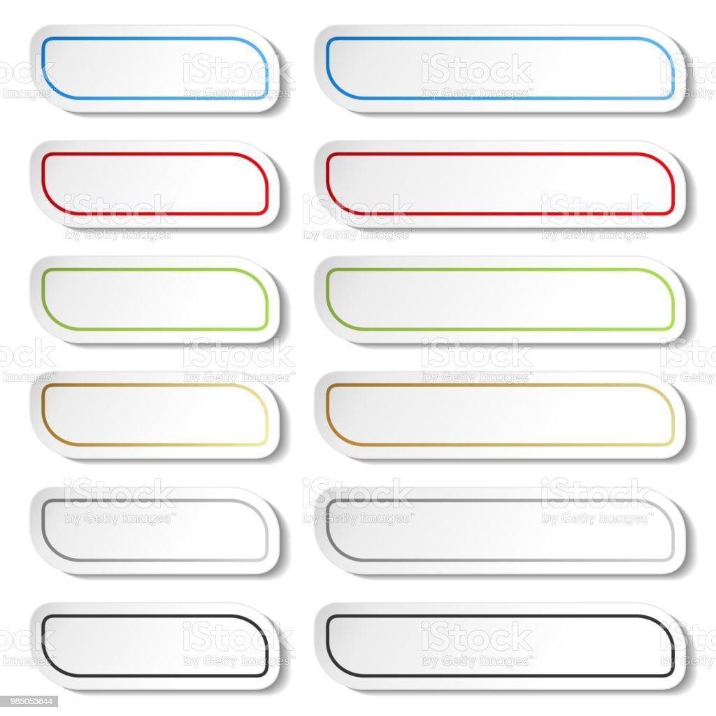 Vector knappar. Svart, grön, blå, guld, grå och röda linjer på vit enkel klistermärken, rektangel med rundade hörn. vektorkonstillustration