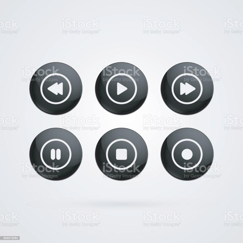 Symboles de vecteur de boutons. Jeu brillant noir et blanc, arrêter, revenir en arrière, avant, pause, Records signes isolés.  Icônes d'illustration pour lecteur audio, vidéo - Illustration vectorielle
