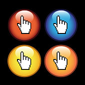 Vector buttons with cursor of hand, download stickers - labels on the white background. Usable for a link, Read more,   Next, Join now, Subscribe, Registration, Buy now, download or menu options, color stickers