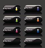 Set of glossy black buttons with colorful arrows.