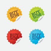 Vector Buy Now Labels Set