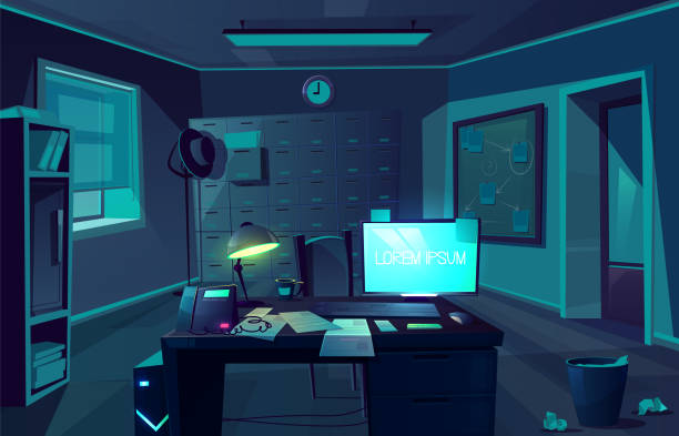 Vector cabinet of private detective at night vector art illustration