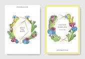 Vector Cacti flower. Wild spring leaf wildflower isolated. Engraved ink art. Wedding background card floral decorative border. Thank you, rsvp, invitation elegant card illustration graphic set banner.