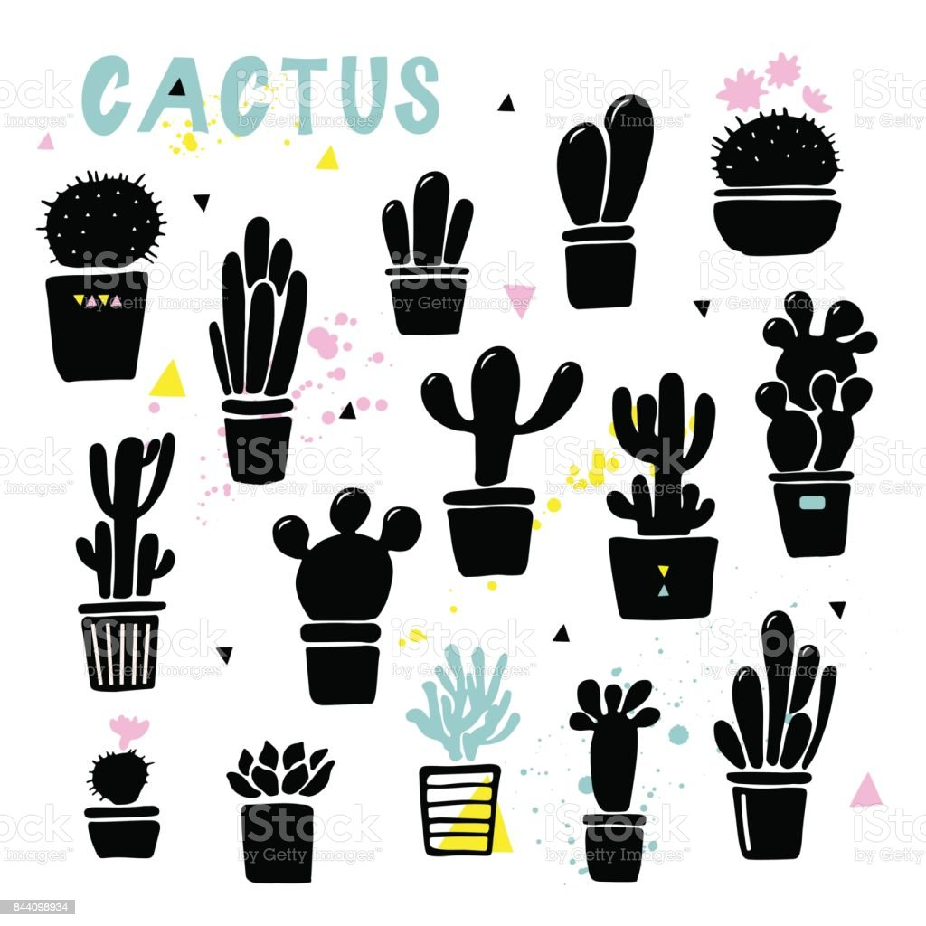 Vector cactus silhouettes in the pots. Hand drawn set of cactus and succulents. vector art illustration