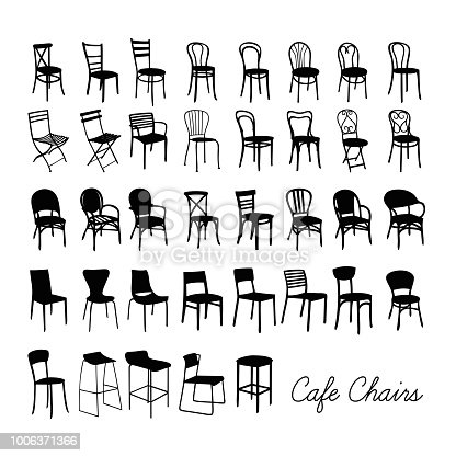 A collection of café chairs in black and white isolated on white background
