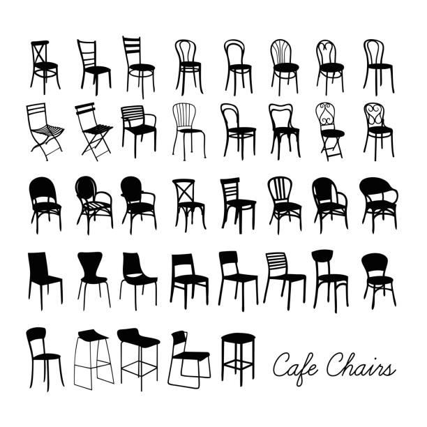 bildbanksillustrationer, clip art samt tecknat material och ikoner med vector café stol samling, silhouette caféstolar - stol