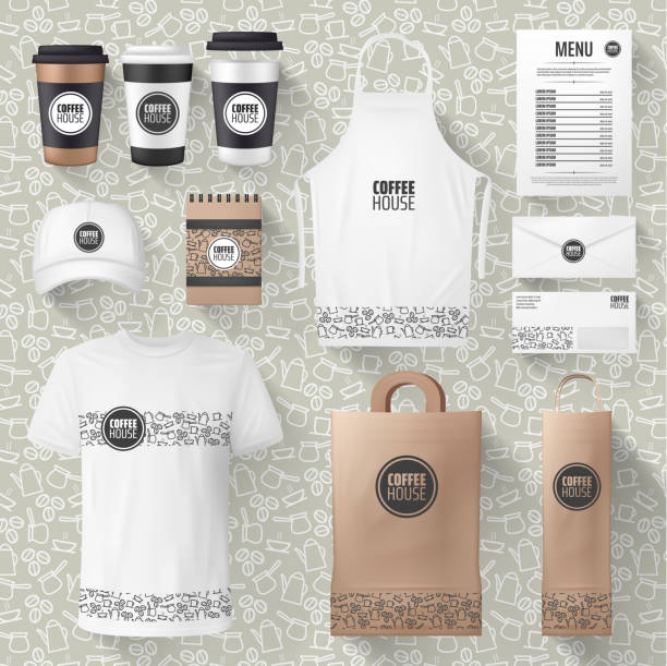 Vector cafe merchandise or coffee items mockups Cafe or cafeteria merchandise and advertising materials mockups. Vector 3D coffee cup, ashier or waiter t-shirt and cap, paper bag or apron and receipt design with cofeehouse brand name apron isolated stock illustrations