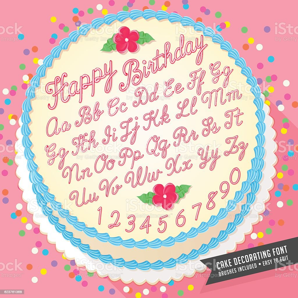 Vector Cake Decorator Icing Font With Birthday Cake Stock Vector Art