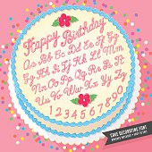 vector cake decorator icing font with birthday cake