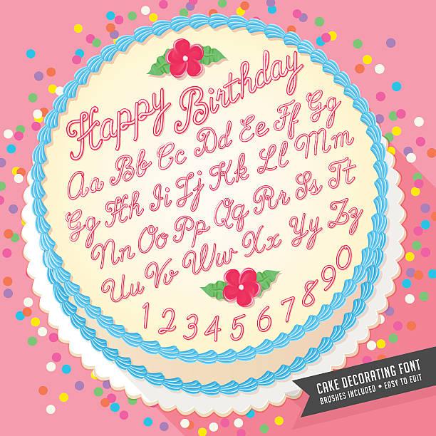 stockillustraties, clipart, cartoons en iconen met vector cake decorator icing font with birthday cake - suikerglazuur