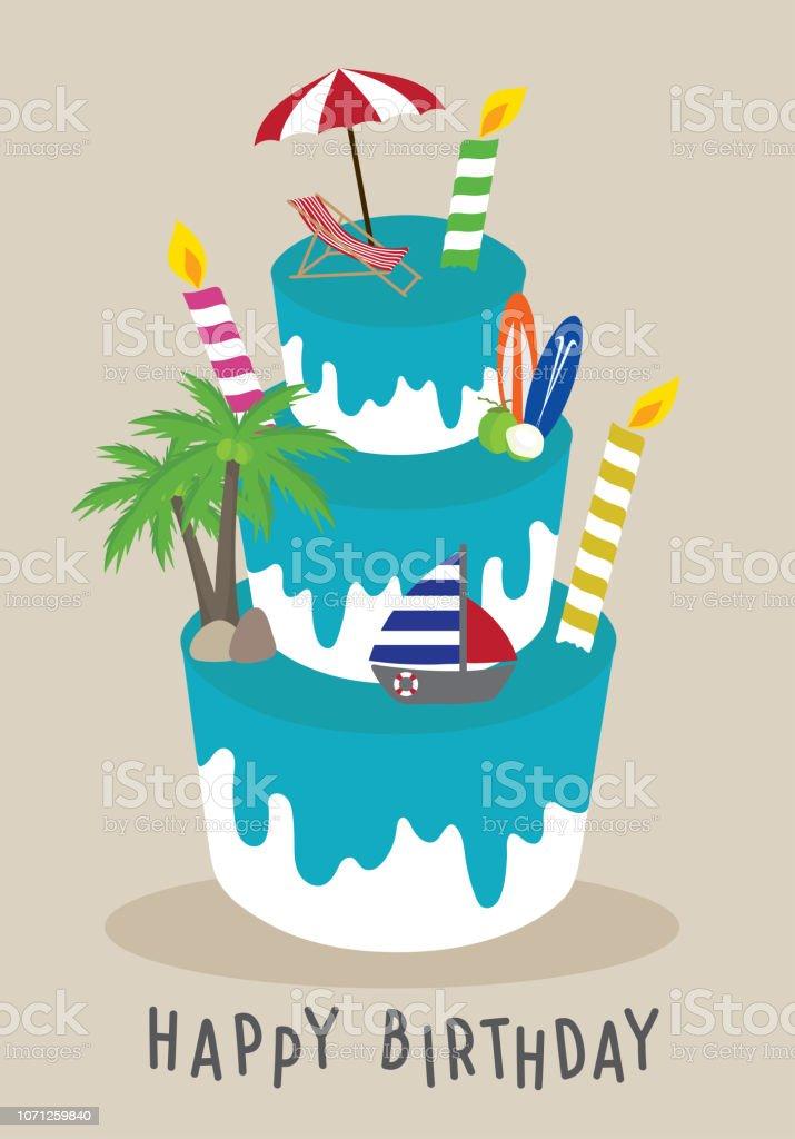 Vector Cake Happy Birthday For Traveler Concept Summer On ...