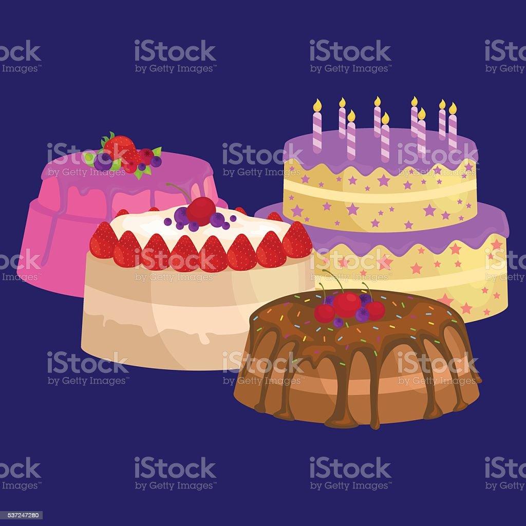Küche Beere | Vektorkuchen Symbolset Geburtstag Kuche Sussen Dessert Isoliert