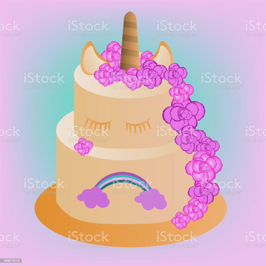 Vektorkuchen Mit Einhorn Und Regenbogen Fur Kinder Zum Geburtstag