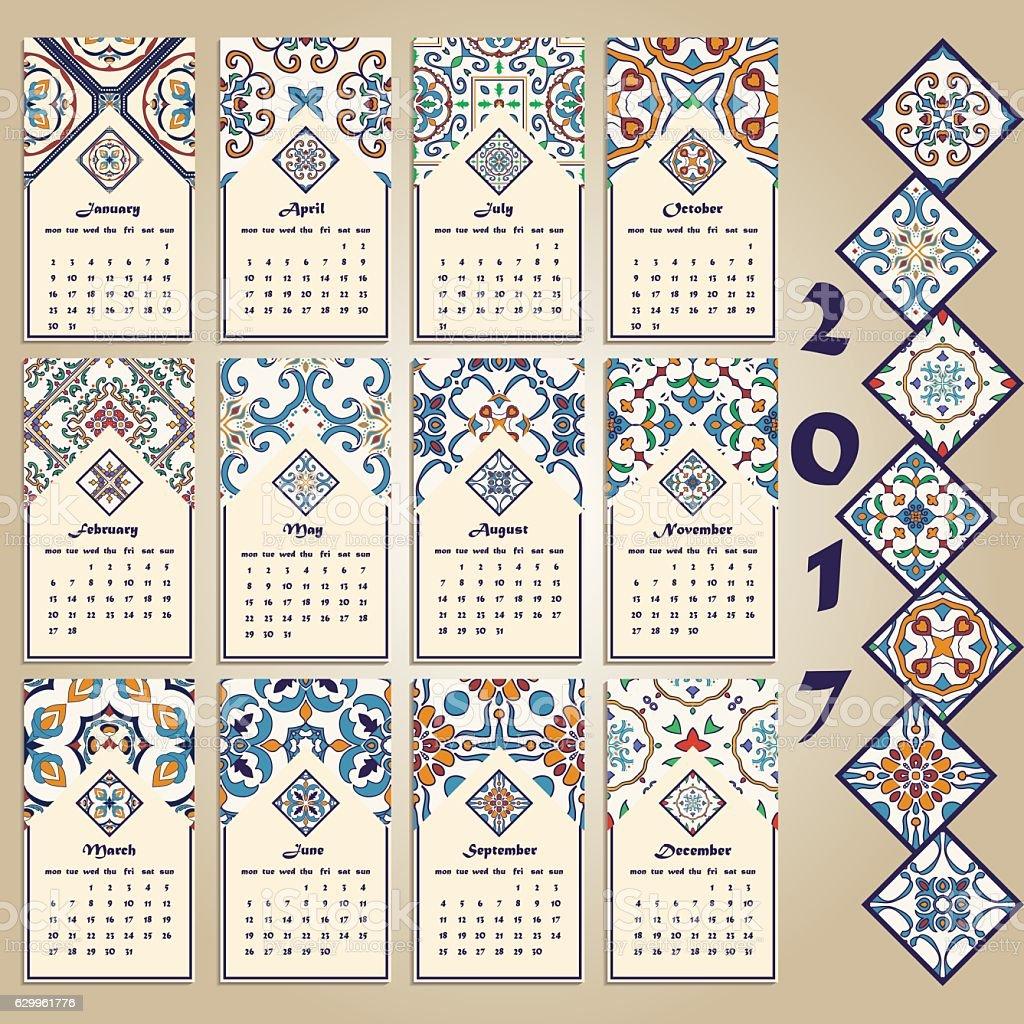 Vector calendar 2017. Portuguese, Azulejo, Moroccan; Spanish; Arabic; asian ornaments vector art illustration