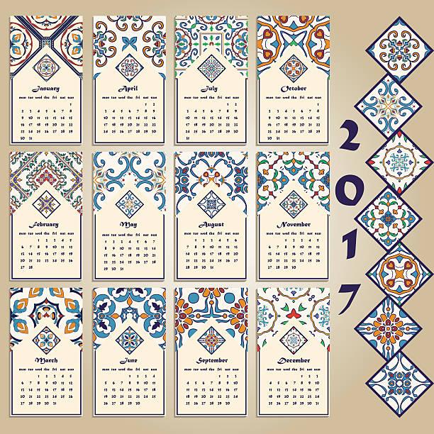 ilustraciones, imágenes clip art, dibujos animados e iconos de stock de vector calendar 2017. portuguese, azulejo, moroccan; spanish; arabic; asian ornaments - patrones de azulejos