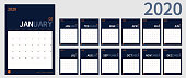 vector Calendar 2020 new year planner set 12 month in clean minimal table simple design style and navy blue color,vertical holiday event template calender,Week Starts Sunday