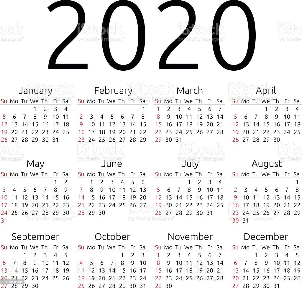 Calendario 2020 Vector Gratis.Vector Calendar 2020 Sunday Stock Illustration Download