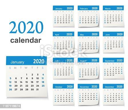 Vector calendar 2020